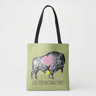 Bolsa Tote Ame seu búfalo dos parques nacionais