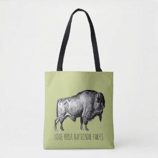 Bolsa Tote Ame seu búfalo nenhuma dos parques nacionais