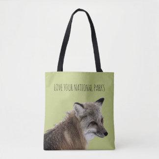 Bolsa Tote Ame seu Fox dos parques nacionais