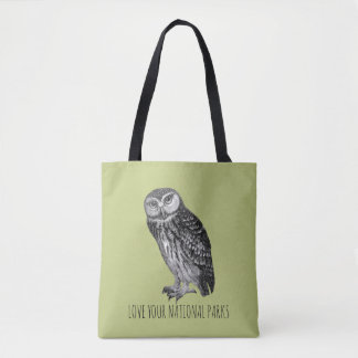 Bolsa Tote Ame sua coruja nenhuma dos parques nacionais