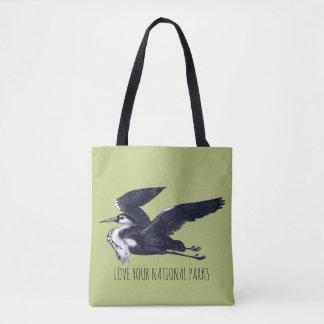 Bolsa Tote Ame sua sacola cinzenta da garça-real dos parques
