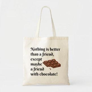 Bolsa Tote Amigos engraçados com texto do preto do chocolate