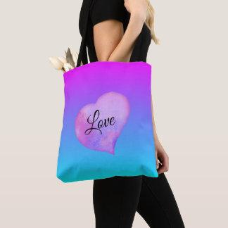 Bolsa Tote Amor cor-de-rosa e azul do coração da aguarela