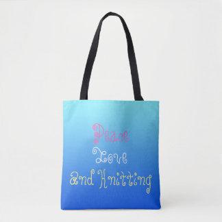 Bolsa Tote Amor da paz e confecção de malhas - personalizada