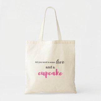 Bolsa Tote Amor e sacolas do cupcake