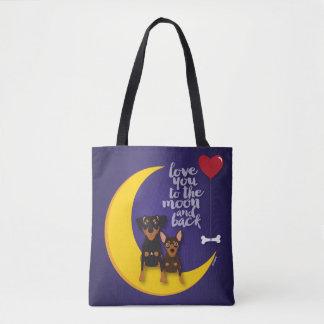 Bolsa Tote Amor mínimo do Pin você à lua e à sacola traseira