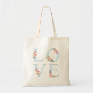 Bolsa Tote Amor na tipografia floral do alfabeto da flor