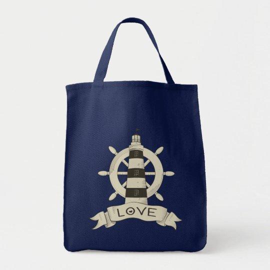 Bolsa Tote Amor náutico do marinheiro da praia da roda do