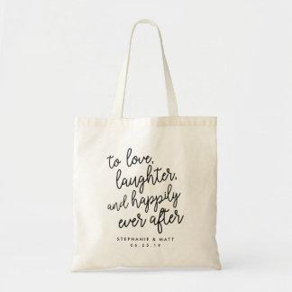 Bolsa Tote Amor, riso & feliz nunca após o favor Wedding