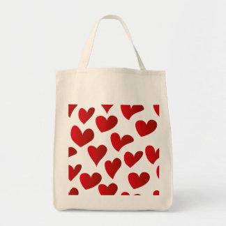 Bolsa Tote Amor vermelho pintado teste padrão do coração da