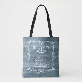 Bolsa Tote Âncora, cordas e navio náuticos do tema