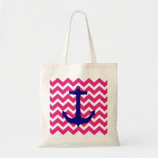Bolsa Tote Âncora náutica azul e sacola cor-de-rosa de