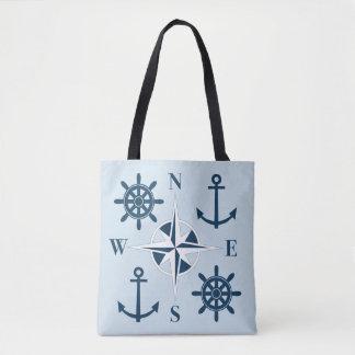 Bolsa Tote Âncoras do leme do navio & marinho & azul-céu do