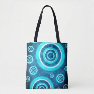 Bolsa Tote Anéis cósmicos de incandescência do azul
