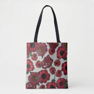 Bolsa Tote Anêmonas e sacola vermelhas dos rosas