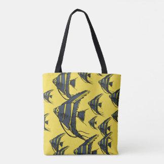 Bolsa Tote Angelfish cinzento & amarelo