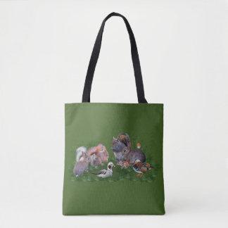 Bolsa Tote Animais da floresta por todo o lado no saco do