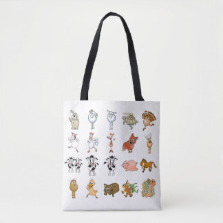 Bolsa Tote Animais de fazenda engraçados dos desenhos