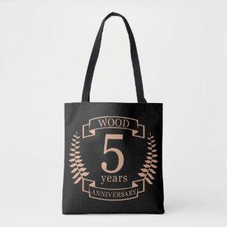 Bolsa Tote Aniversário de casamento de madeira 5 anos