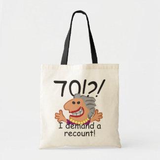 Bolsa Tote Aniversário engraçado do 70 da descrição