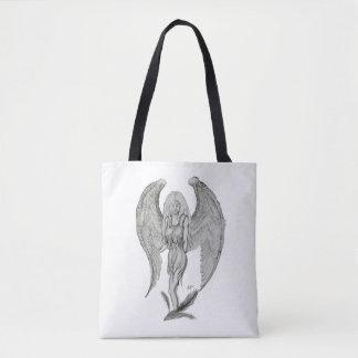 Bolsa Tote Anjo, design preto e branco