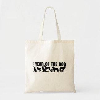 Bolsa Tote Ano chinês das silhuetas pretas T B do cão 2018