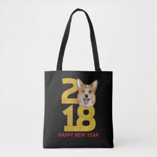 Bolsa Tote Ano do Corgi do saco do ano novo do cão 2018