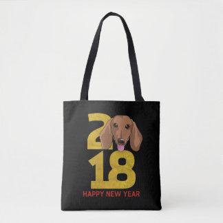 Bolsa Tote Ano do Dachshund do saco do ano novo do cão 2018