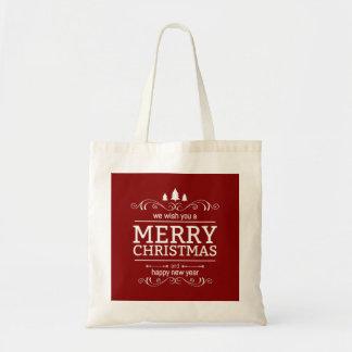 Bolsa Tote Ano novo do vermelho e do White Christmas