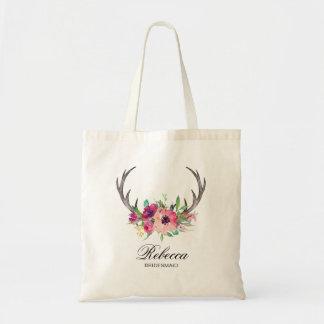 Bolsa Tote Antlers florais rústicos de Boho que Wedding a