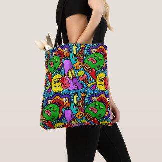Bolsa Tote Apenas colorido louco toda sobre - imprima a
