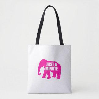 Bolsa Tote Apenas um minuto. Elefante cor-de-rosa