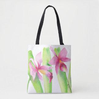 Bolsa Tote Aquarela Orquídea Flor Colorida Decorativa Bonita