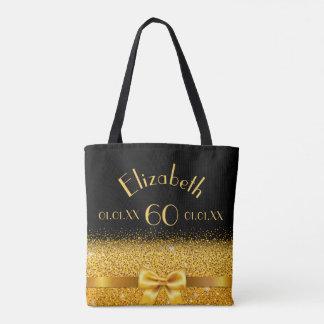 Bolsa Tote arco elegante do ouro do 60th aniversário com
