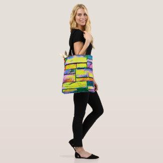 Bolsa Tote Arco-íris artístico vibrante tijolos coloridos