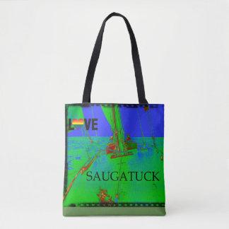 Bolsa Tote Arco-íris colorido da navigação de Saugatuck