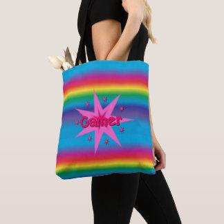 Bolsa Tote Arco-íris do Gamer & sacola das estrelas