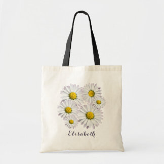 Bolsa Tote Arranjo floral das margaridas brancas e amarelas
