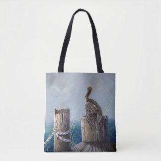 Bolsa Tote Arte acrílica do oceano do pelicano de Brown da