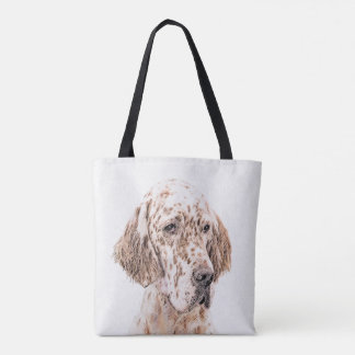 Bolsa Tote Arte alaranjada do cão da pintura de Belton do