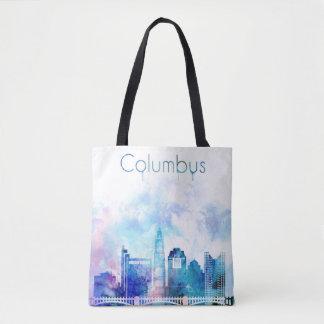 Bolsa Tote Arte da skyline de Columbo, arquitectura da cidade