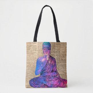 Bolsa Tote Arte do dicionário do vintage de Buddha do espaço