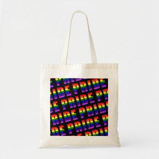 Bolsa Tote Arte do texto do orgulho do arco-íris na cor preta