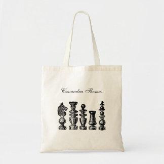 Bolsa Tote Arte do vintage das partes de xadrez