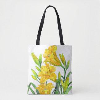 Bolsa Tote Arte floral amarela dos lírios de dia da aguarela