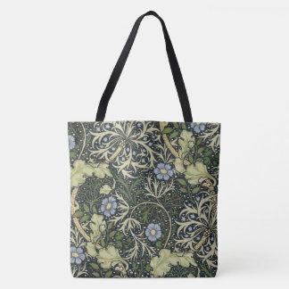 Bolsa Tote Arte floral do vintage do teste padrão da alga de