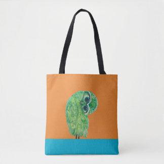 Bolsa Tote Arte litoral Burrowing verde da coruja