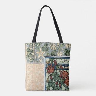 Bolsa Tote Arte Nouveau do vintage, flores aquilégias de