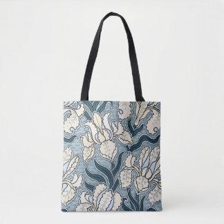 Bolsa Tote Arte Nouveau do vintage, flores azuis da íris do