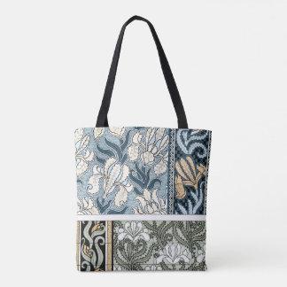 Bolsa Tote Arte Nouveau do vintage, flores da íris do jardim
